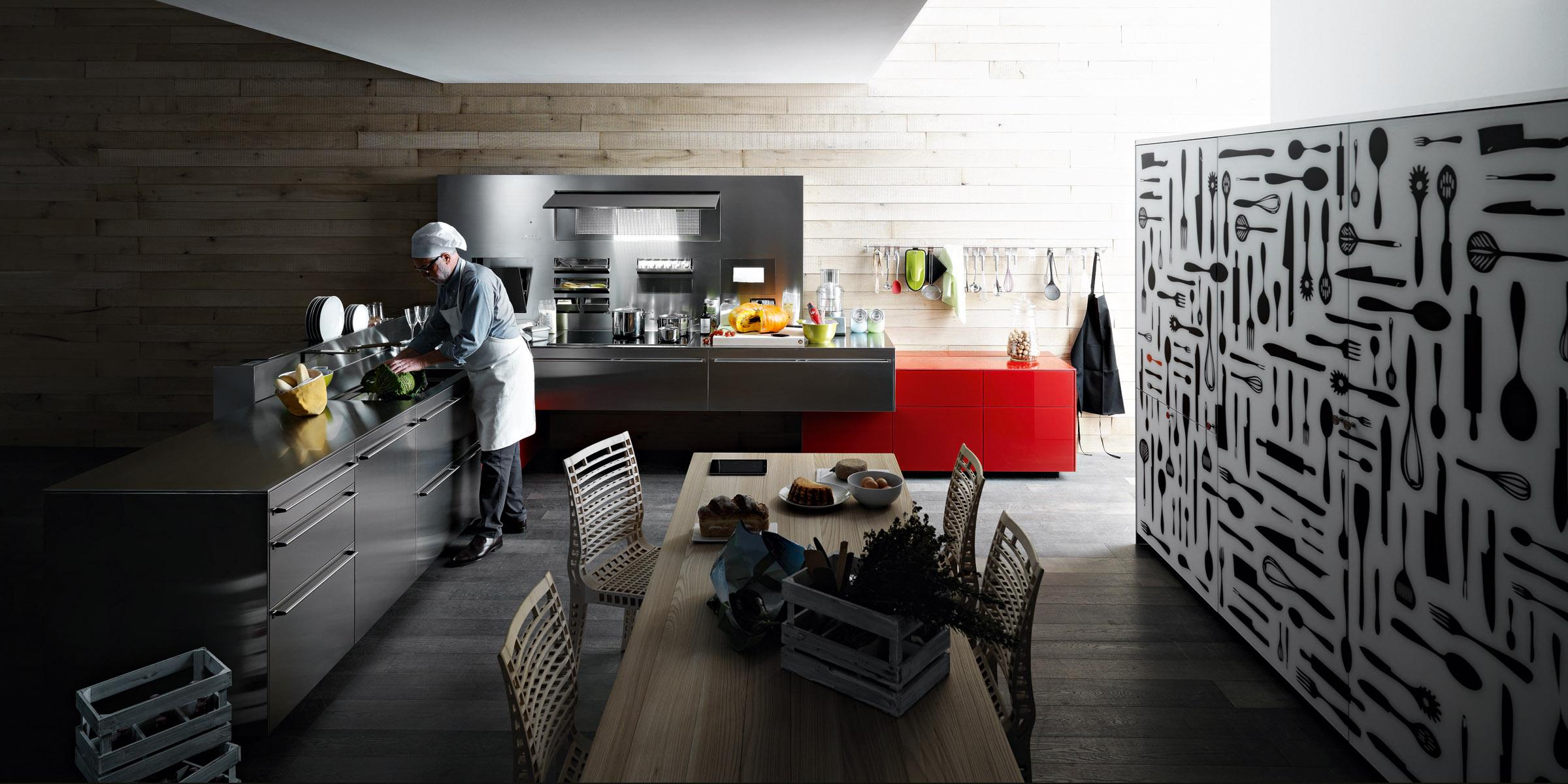 100 valcucineartematica inox 0071 - Cocinas de Metal